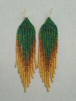 Fashion Green Beaded Earrings Long Seed Bead earrings Gold beaded earrings bead
