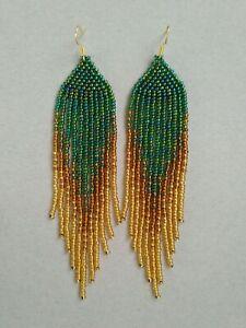 Fashion Green Beaded Earrings Long Seed Bead earrings Gold beaded earrings bead
