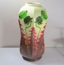"Antique Julius Dressler Majolica Vase - Thistles - 19"" Tall"