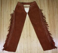 Brown Suede Leather Quality Heavy Soft Riding Trail Chaps Western Ranch Fringe