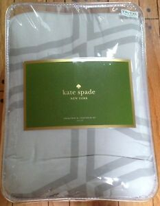 NIP KATE SPADE BOW TILE GRAY/WHITE XL TWIN COMFORTER SHAM SET