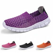 Women Woven Lightweight Elastic Trainer Comfort Slip On Sport Stretch Shoes 42 D