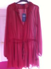 M&S Dress Top Size 14 New Brick Red Limited Edition Festival Holiday Tassel Belt