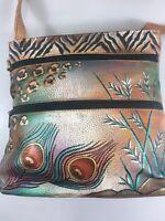 Anuschka Handpainted Leather Peacock Feathers Cross-Body Shoulder Bag Handbag