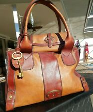 Fossil Vintage Reissue Two Tone Brown Satchel & Matching Wallet