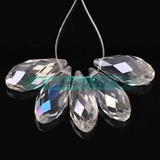 5pcs 25X12mm Big Faceted Teardrop Glass Crystal Loose Spacer Beads Jewelry DIY