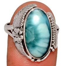 Genuine Larimar - Dominican Republic 925 Silver Ring Jewelry s.8.5 BR5743 196Y