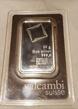 50 Gramm Valcambi Suisse Silberbarren Silber 999 Blister