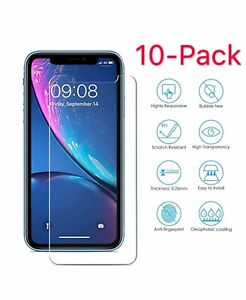 10Pack For iPhone 5 5S 6 6s 7 8 Plus X Xs Max XR Tempered GLASS Screen Protector