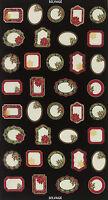 "23"" Fabric Panel - Timeless Treasures Metallic Christmas Gift Tags Red Green"