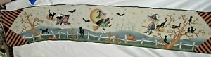 Halloween Witches Bats & Black Cats Tapestry Table Runner Fabric Piece