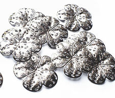 10 x Quality 35mm Silver Plated Filigree Flower Stamped Embellishment Decoration