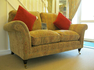 Parker knoll burghley 2 seater Sofa in Baslow Medallion gold fabric.RRP £1895