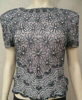 Papell Boutique Evening Sz L Women's Grey Beaded Formal Short Sleeve Blouse Top