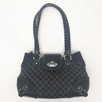 Brighton Quilted Pebbled Leather Purse Black Braided Shoulder Bag Handbag Heart