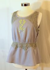 Anthropologie HD in Paris Sun-Stitched Peplum Top Cloud Grey Embroidered sz 12