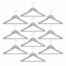 10 Childrens Wooden Coat Hangers Kids Clothes Trouser Hanger Bar Grey