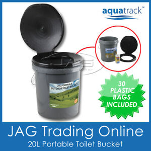 PORTABLE OUTDOOR TOILET BOX 20L WITH LID & FREE BAGS - Camping Bush Dunny Bucket