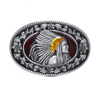 "Indian Metal Men's Belt Buckle Western Cowboy Belts Buckle Fit 1.5"" Wide Belt TP"