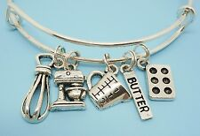 Cooking/Baking Expandable Bangle Bracelet Silver Charm Gift for Chef Baker Cook