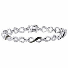 ".925 Sterling Silver Black Diamond Infinity Tennis Link Bracelet 7.5"" 0.33 Ct."