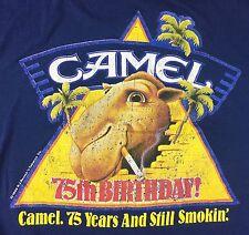 Vintage Mens 1988 Joe Camel Cigarettes 75 Anniversary Tobacco Blue T-Shirt L