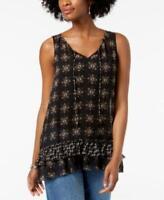 Style & Co Women's V-Neck Sleeveless Tiered Handkerchief-Hem Top Size XS