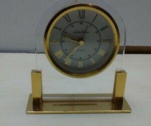 Seth Thomas Quart Germany Movement Desk Top Mantle Shelf Alarm Clock Watch Gold