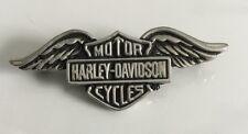 Vintage 80's Harley Davidson HD Motorcycle Bike Leather Silver Shield Pin Badge