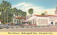 Bakersfield CA~Bakersfield Inn Motor Hotel~US 99~1940s Cars~Linen Postcard