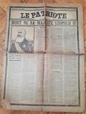 Mort de sa Majesté Leopold II (Le Patriote - 18 décembre 1909)