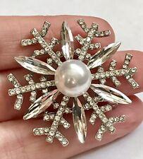 Floral Broach In Silver Plate , Sim Pearl, Austrian Crystal