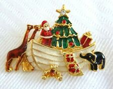 Fun Noah-Santa's Ark Christmas Pin Brooch Enameled Gold Plated