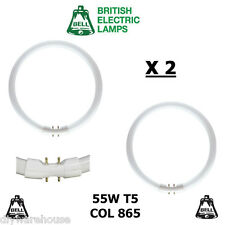 2 X BELL T5 CIRCULAR FLUORESCENT TUBE T5 55 WATT COL 865 2GX13 CIRCLINE DAYLIGHT