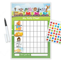 MAGNETIC ANIMAL TRAIN POTTY TOILET REWARD CHART WITH PEN & STAR STICKERS-TRAP