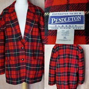 Vintage Pendleton Red Tartan Size XL Coat Blazer Jacket 100%Virgin Wool VGC