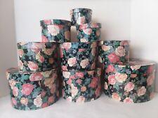 Set of 9 Rose Storage Nesting Boxes Decor Black Cream Pink Blue