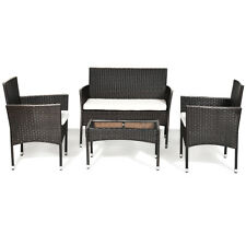 4PCS Patio Rattan Wicker Furniture Set Cushioned Chair Glass Table Top Outdoor