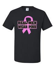 Real Men Wear Pink T-Shirt October Breast Cancer Awareness Pink Ribbon Walk Run