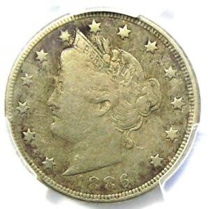 1886 Liberty Nickel 5C - PCGS Fine Details - Rare Key Date Certified Coin!