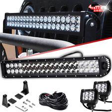 "120W 20"" LED Light Bar+2x 4"" Fog Lights+Wiring For Truck SUV Jeep 4x4 ATV Bumper"