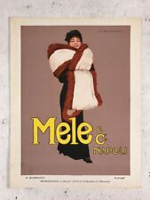 Vintage / Antique Advertisement Italian Mele & Ci Napoli Furs Art