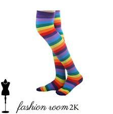 Womens rainbow multi colour over the knee socks all colours adults pride stripey