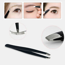 Professional Black Eyebrow Tweezers Hair Beauty Slanted Stainless Steel Tweezer