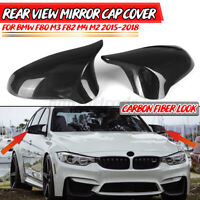 Rear Wing Mirror Cover Caps Carbon Fiber Look For BMW F80 F82 M3 M4 M2 2015-2018