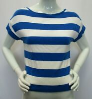 ANN TAYLOR Womens Blue White Striped Back Zip Scoop Neck Short Sleeve Top - XS