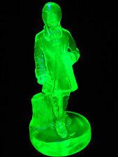 Green Vaseline glass George Washington statue Doll Figurine / uranium yellow man