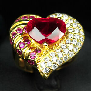 RUBY BLOOD RED HEART 8.10 CT. SAPP 925 STERLING SILVER GOLD RING SIZE 7 WOMEN