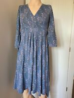 Seasalt Dress UK Size 10 Womens Ladies Blue Floral Summer Bamboo Cotton 12