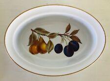 """Evesham Gold Oval Dish w/ Rim Porcelain Royal Worcester Fruit Gold Trim 9-5/8"""""""